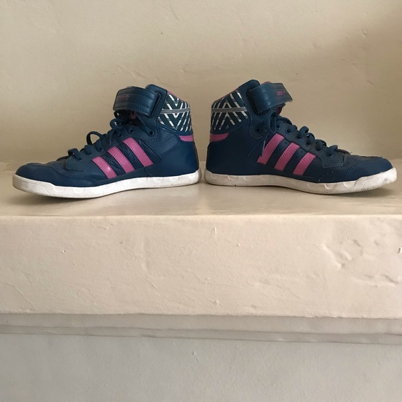 adidas Shoes - Adidas high tops in navy and pink. Barely worn!